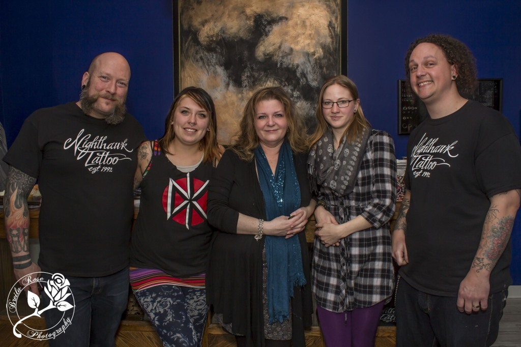 from left: Mark (Piercing), Emily (front desk), Laurie (Tattooing), Sally (Laser Removal) Mac (Tattooing). Picture courtesy of Breila Rose Photography
